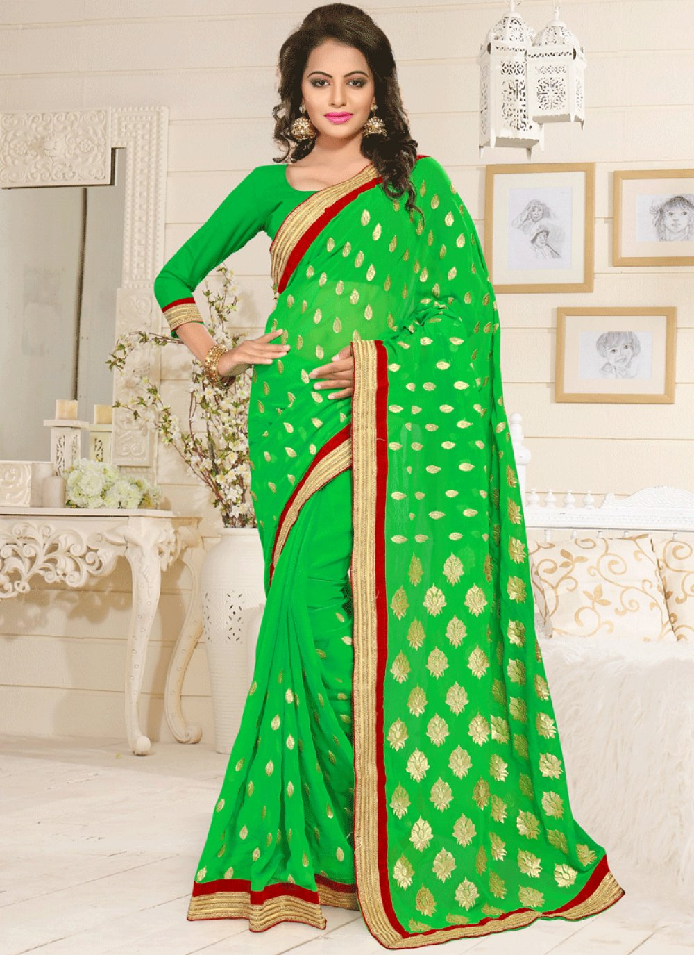 Faux Georgette Green Lace Work Classic Saree