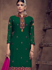 Faux Georgette Green Palazzo Designer Salwar Kameez