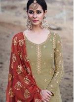 Faux Georgette Green Resham Designer Palazzo Suit