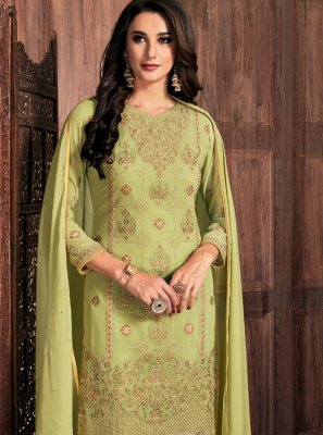 Faux Georgette Green Resham Pant Style Suit
