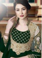 Faux Georgette Green Trendy Anarkali Salwar Suit
