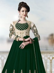 Faux Georgette Green Trendy Anarkali Salwar Suit