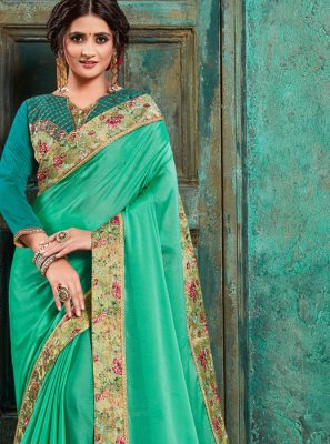 Faux Georgette Green Trendy Saree