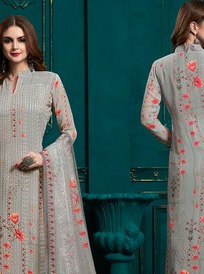 Faux Georgette Grey Designer Pakistani Suit