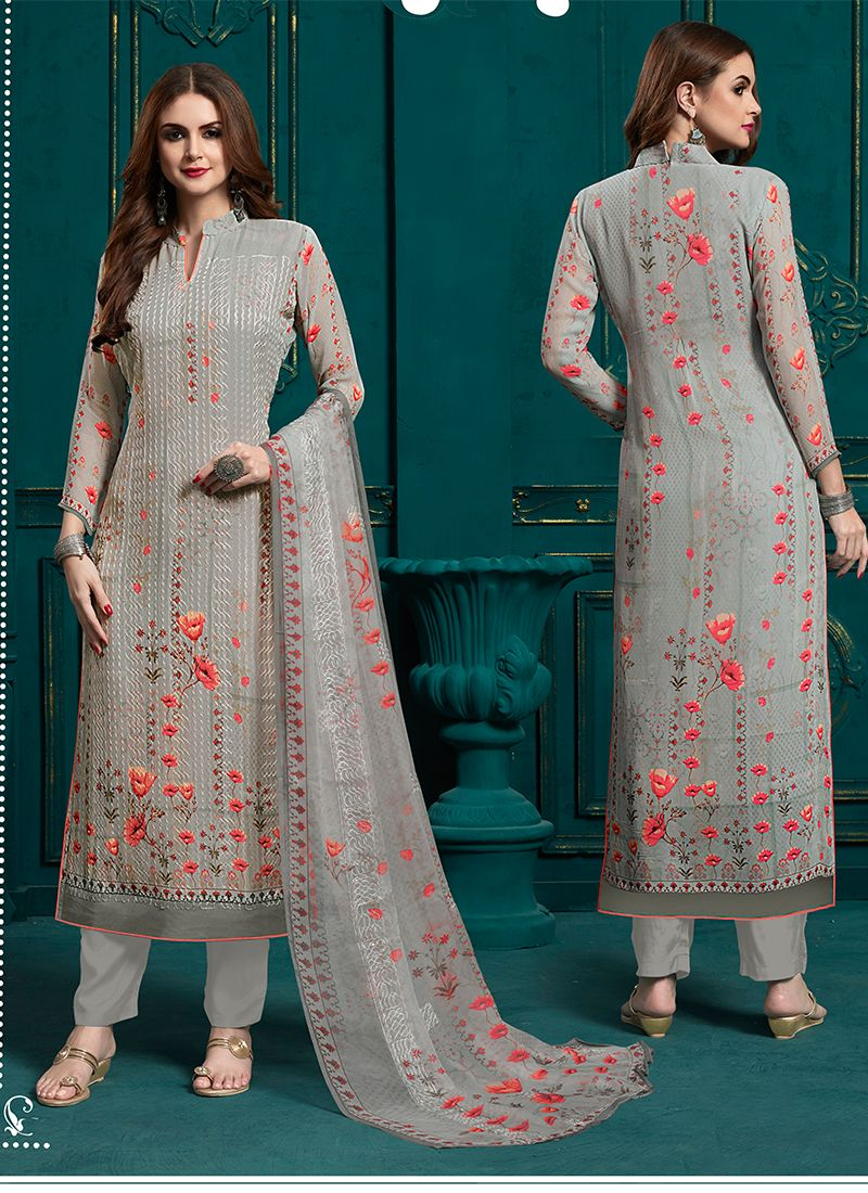 Faux Georgette Grey Designer Pakistani Suit