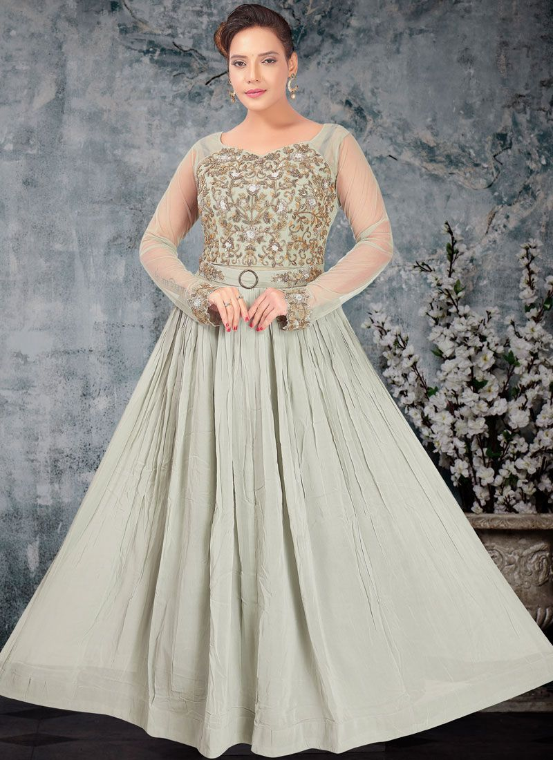 Faux Georgette Grey Embroidered Readymade Trendy Gown