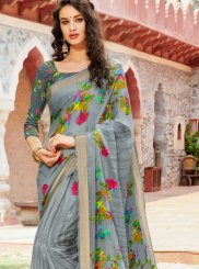 Faux Georgette Grey Printed Casual Saree