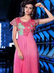 Faux Georgette Hot Pink Embroidered Party Wear Kurti