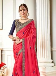 Faux Georgette Hot Pink Embroidered Saree