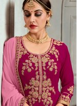 Faux Georgette Hot Pink Embroidered Trendy Palazzo Salwar Suit