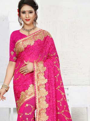 Faux Georgette Hot Pink Embroidered Work Classic Saree