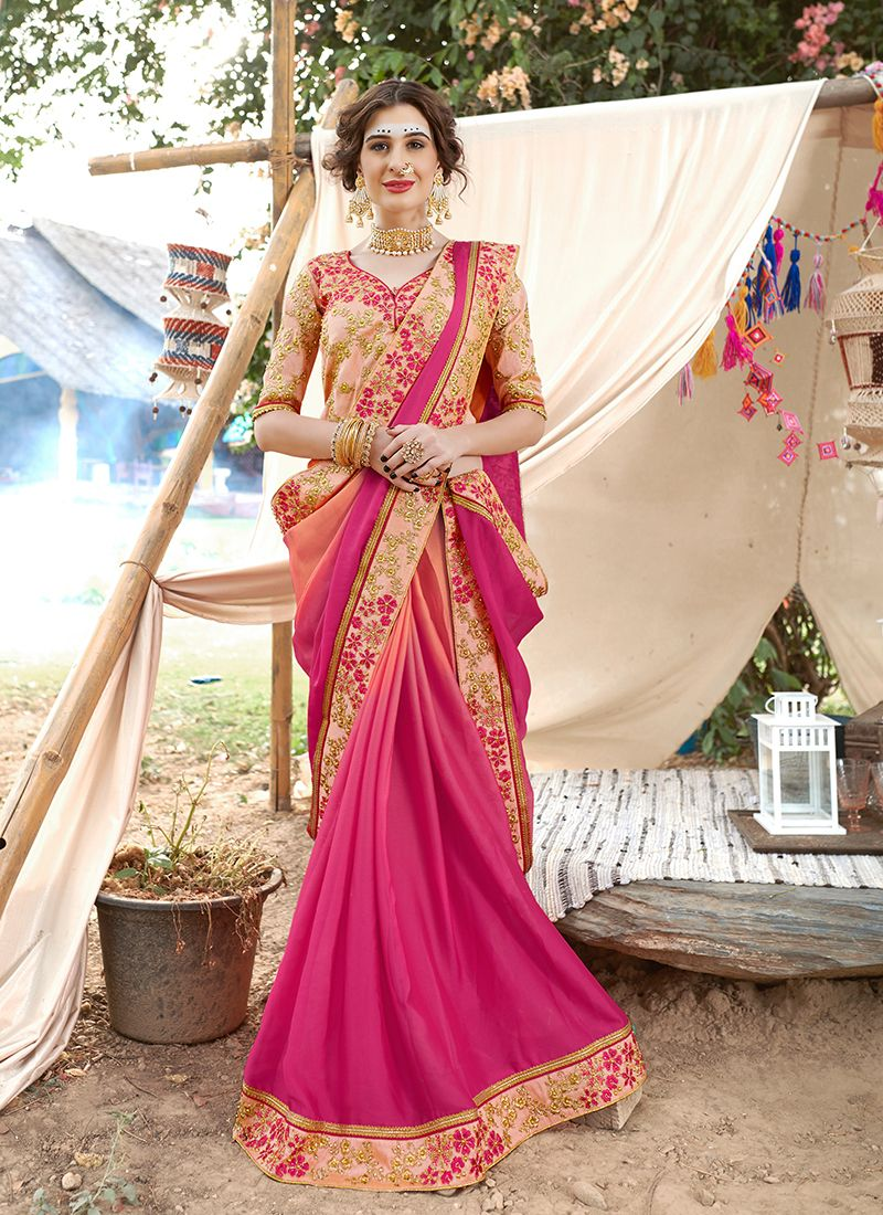Faux Georgette Hot Pink Patch Border Saree