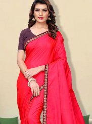 Faux Georgette Hot Pink Patch Border Traditional Saree