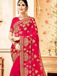 Faux Georgette Hot Pink Resham Trendy Saree