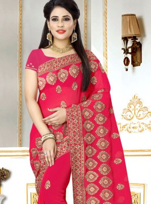 Faux Georgette Hot Pink Saree