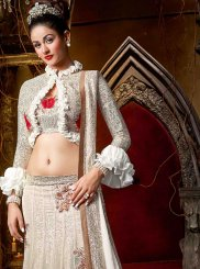Faux Georgette Lace Lehenga Choli in White