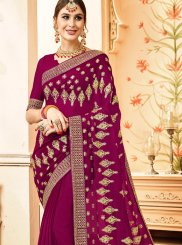 Faux Georgette Lace Purple Classic Saree