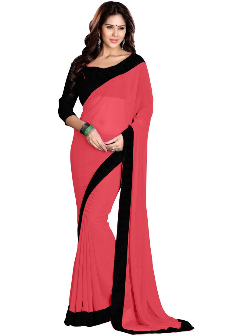 Faux Georgette Lace Saree in Pink