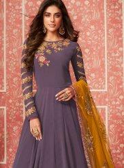 Faux Georgette Lavender Embroidered Desinger Anarkali Salwar Kameez