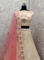Faux Georgette Lehenga Choli in Pink
