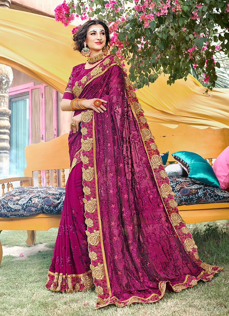 Faux Georgette Magenta Patch Border Classic Saree