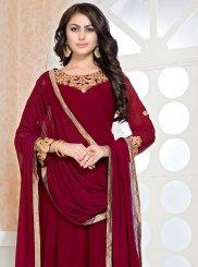 Faux Georgette Maroon Designer Floor Length Salwar Suit
