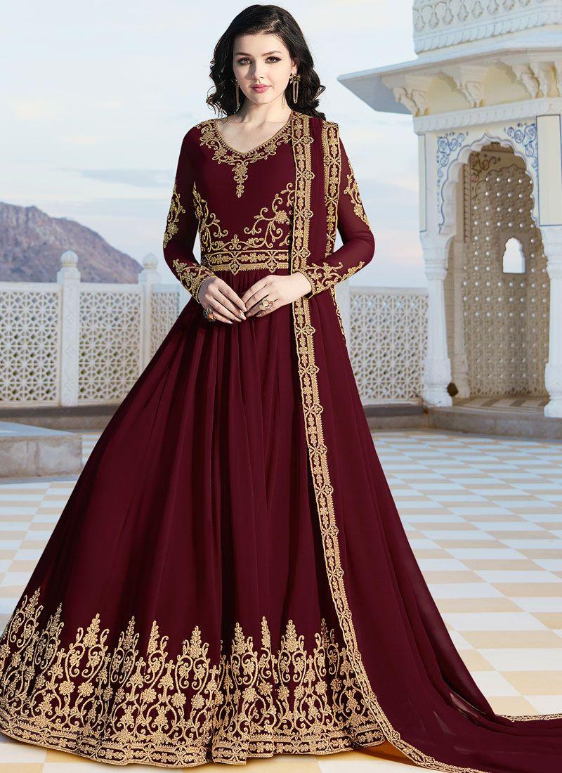 Faux Georgette Maroon Floor Length Anarkali Suit