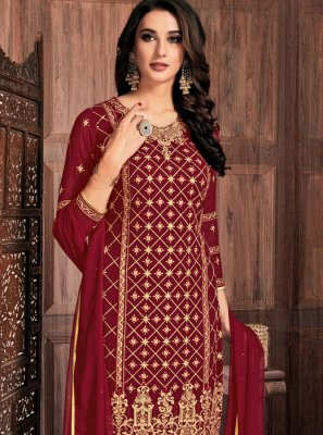 Faux Georgette Maroon Pant Style Suit