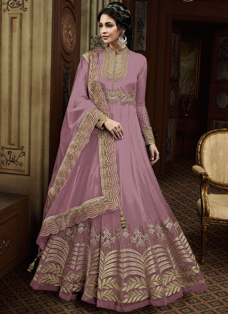 Faux Georgette Mauve  Embroidered Floor Length Anarkali Suit