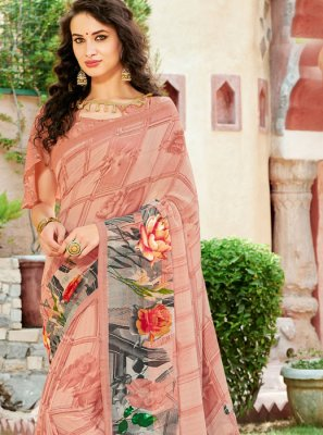 Faux Georgette Mehndi Casual Saree