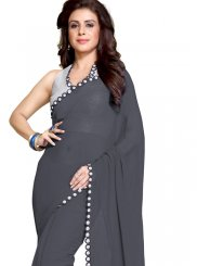 Faux Georgette Mirror Grey Saree