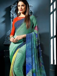 Faux Georgette Multi Colour Abstract Print Casual Saree