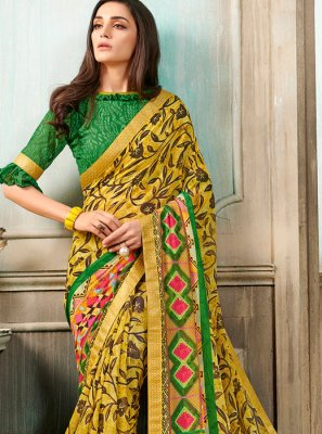 Faux Georgette Multi Colour Printed Casual Saree