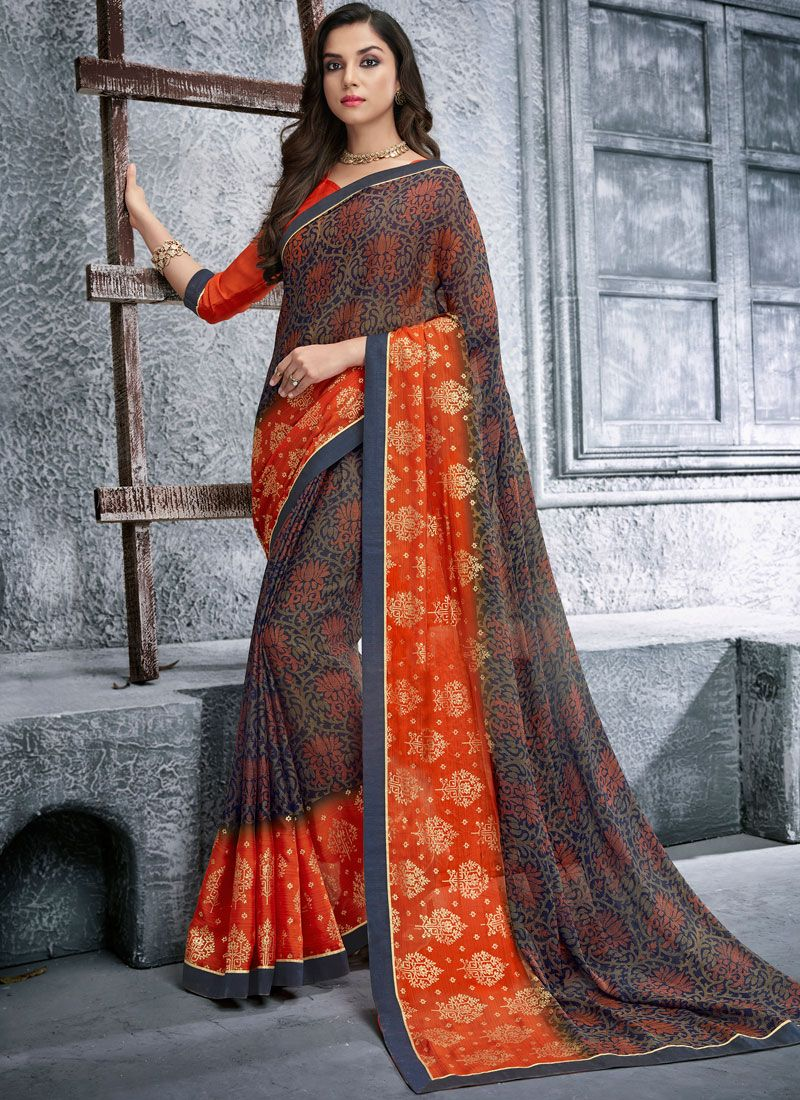 Faux Georgette Multi Colour Printed Saree