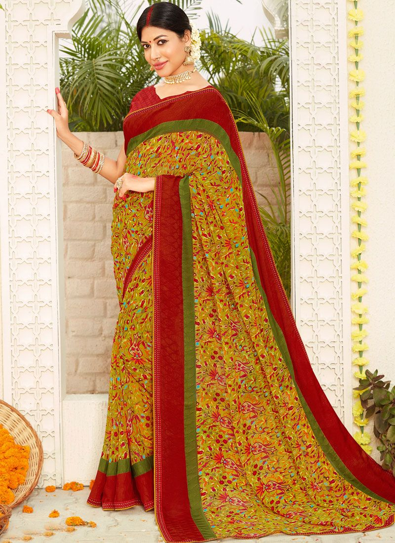 Faux Georgette Multi Colour Printed Traditional Saree