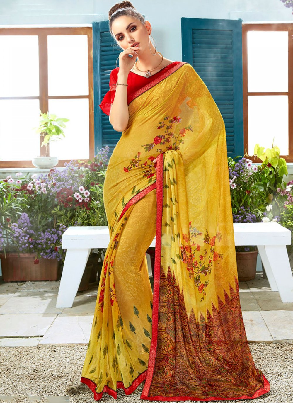 Faux Georgette Mustard Printed Casual Saree