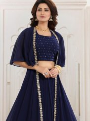 Faux Georgette Navy Blue Readymade Suit