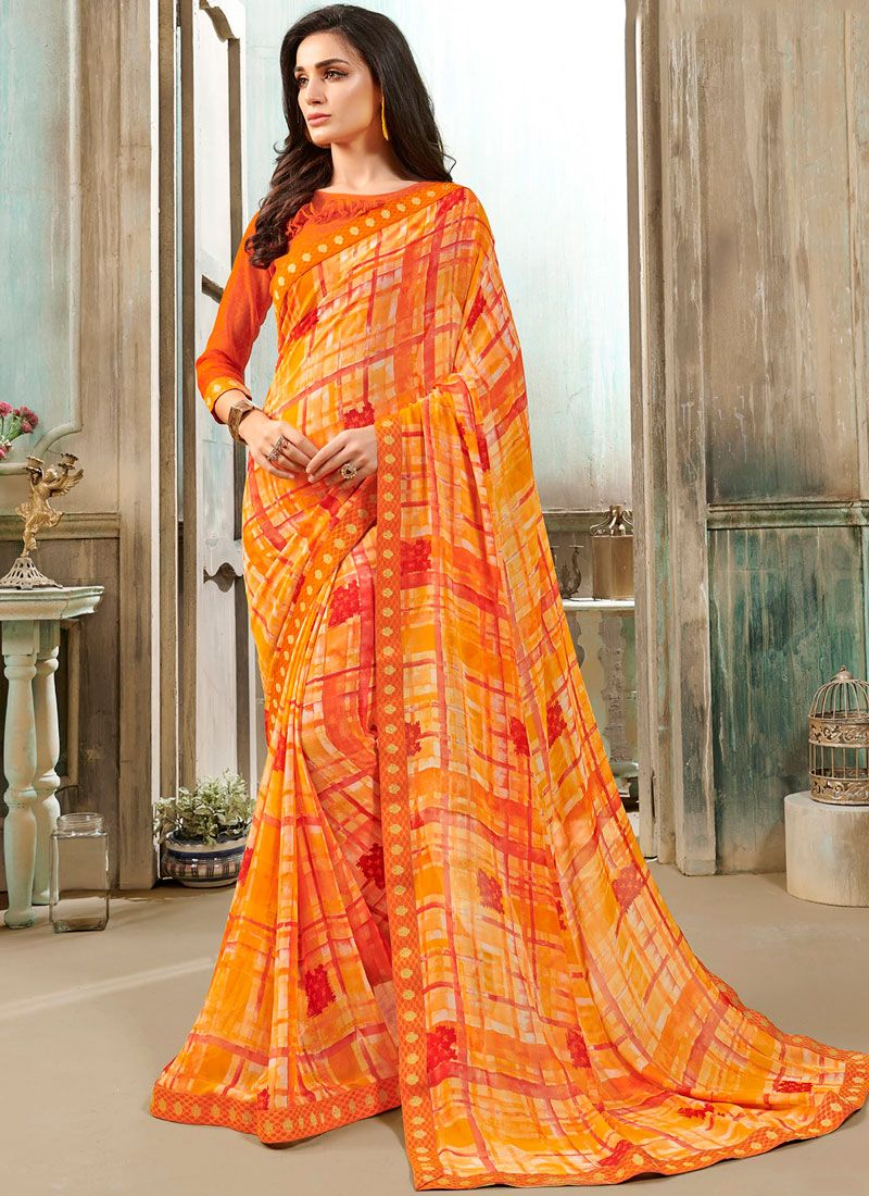 Faux Georgette Orange and Yellow Printed Casual Saree