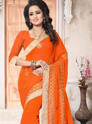 Faux Georgette Orange Classic Designer Saree