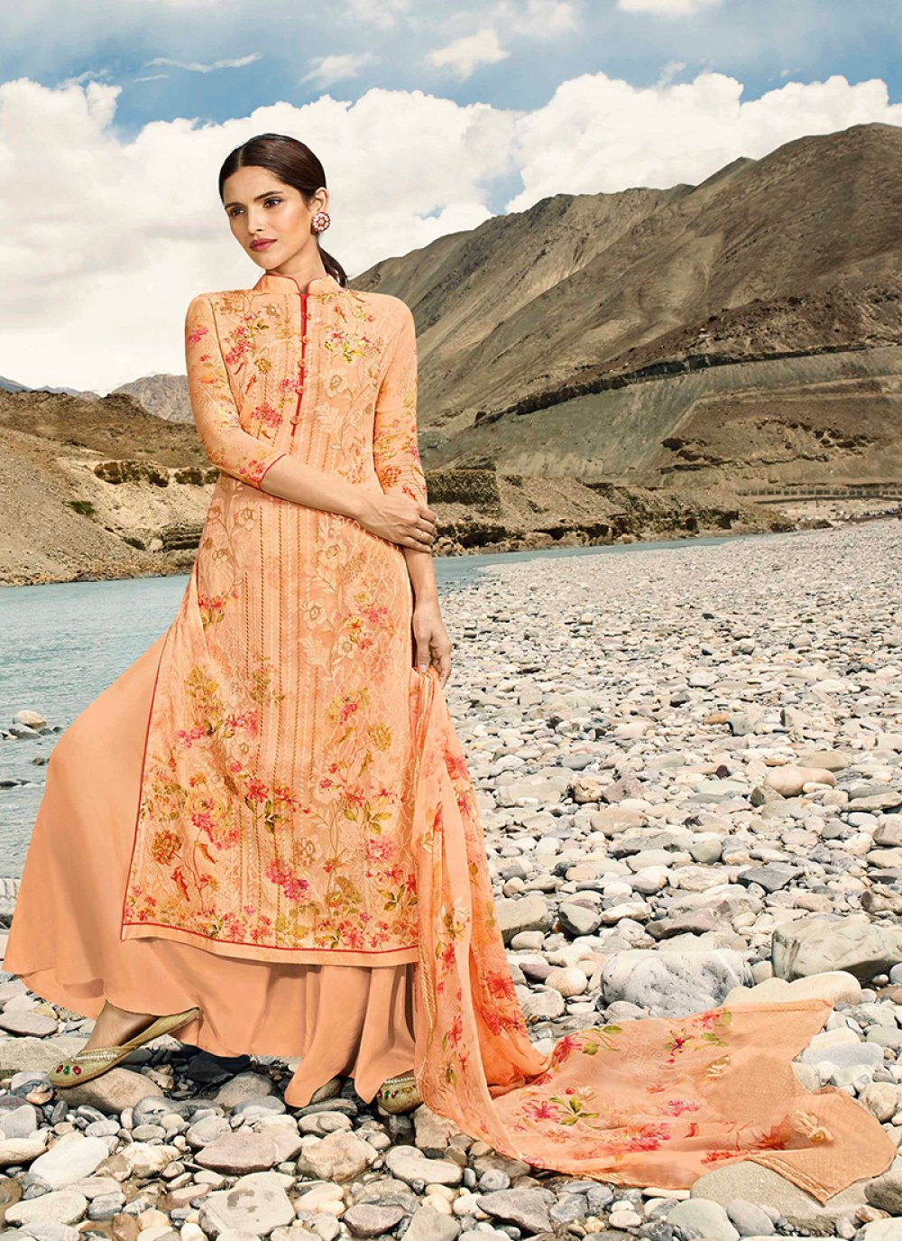 Faux Georgette Orange Digital Print Designer Pakistani Suit
