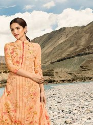 Faux Georgette Orange Digital Print Designer Pakistani Suit
