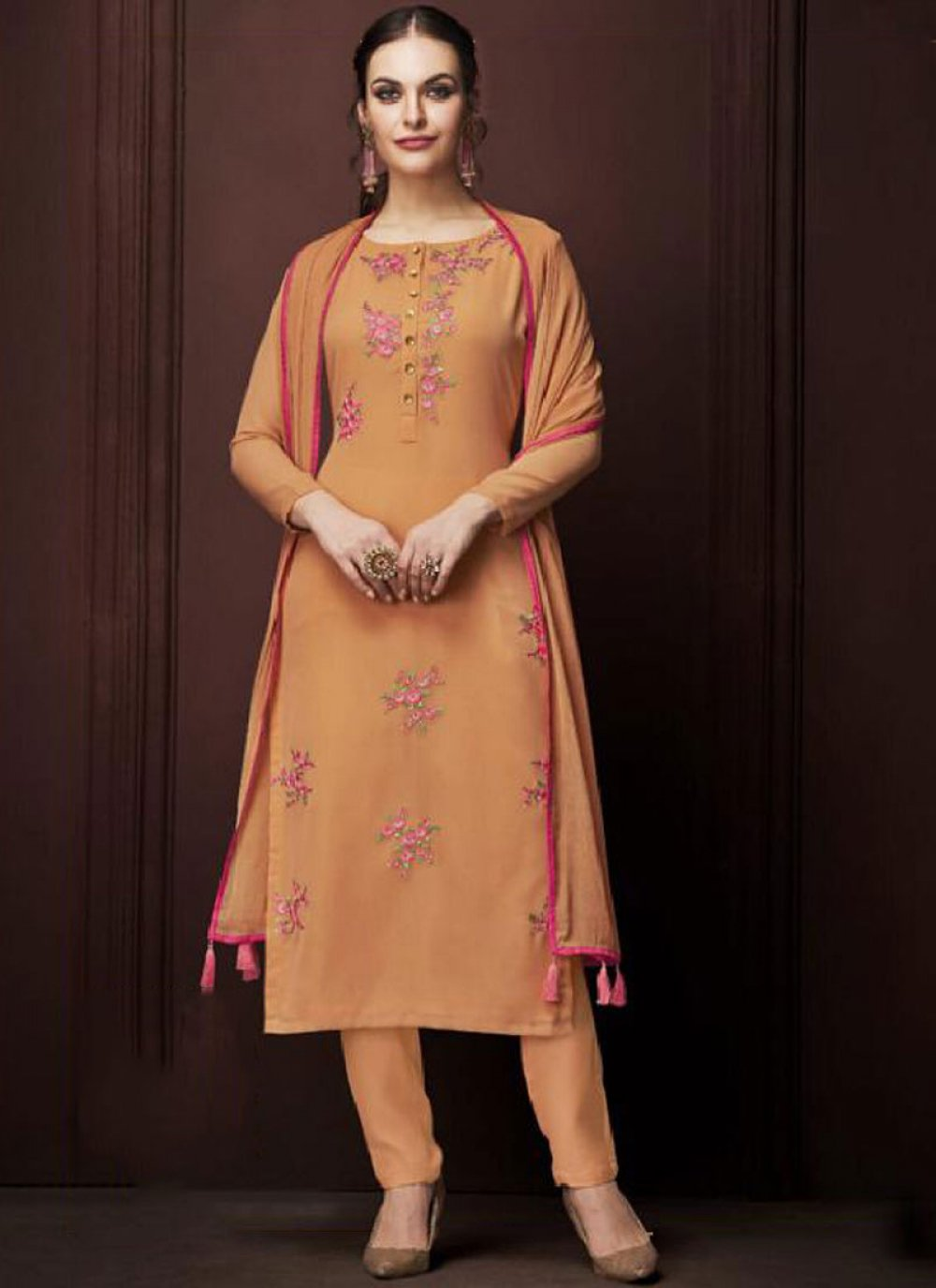 Faux Georgette Orange Embroidered Designer Pakistani Suit