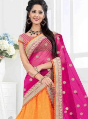 Faux Georgette Orange Embroidered Lehenga Choli