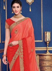 Faux Georgette Orange Patch Border Shaded Saree