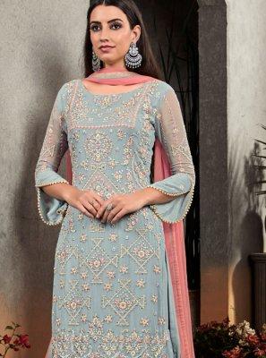 Faux Georgette Palazzo Designer Salwar Kameez in Grey