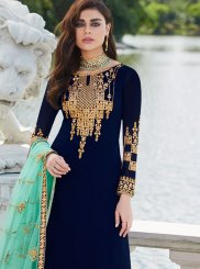 Faux Georgette Palazzo Salwar Suit in Navy Blue