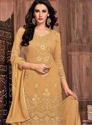 Faux Georgette Pant Style Suit in Mustard