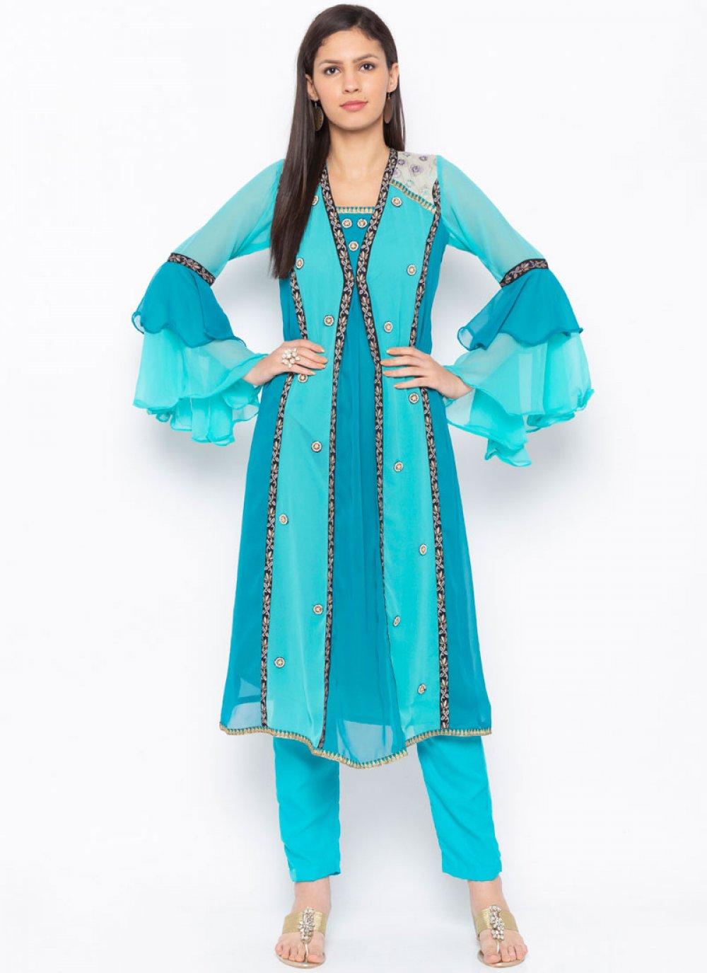 Faux Georgette Party Wear Kurti in Blue