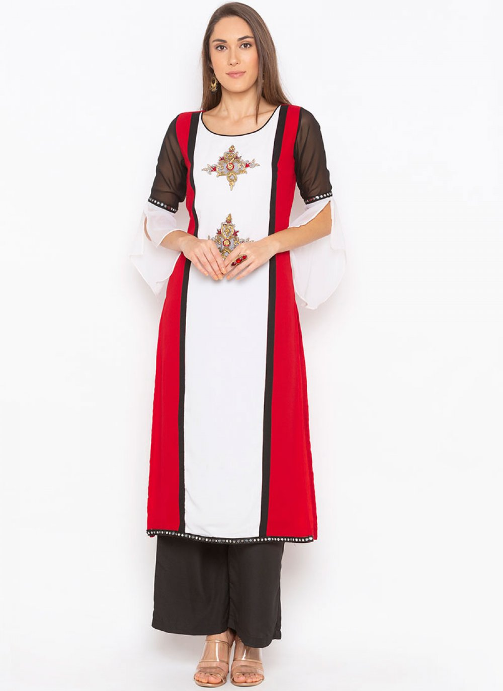 Faux Georgette Party Wear Kurti in Red and White