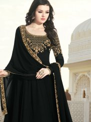 Faux Georgette Patch Border Black Floor Length Anarkali Suit
